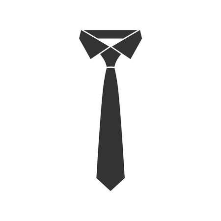 Icona grafica di cravatta nera. Segno di cravatta isolato su sfondo bianco in design piatto. Illustrazione vettoriale