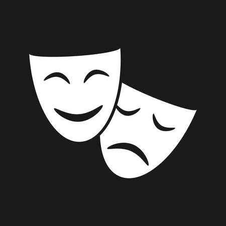 Theatrical masks graphic icon. Masks theatrical isolated sign on black background. Vector illustration