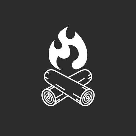 Campfire graphic icon. Campfire sign isolated on black background. Vector illustration