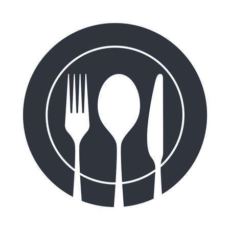 Cutlery icon. Spoon, fork and knife on the plate. Isolated image on white background. Restaurant menu symbol. Vector illustration