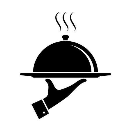 Symbol für Essen servieren. Unterschreiben Sie die Hand des Kellners mit Serviertablett. Kellner serviert. Isoliertes Symbol auf weißem Hintergrund. Vektor-Illustration Vektorgrafik
