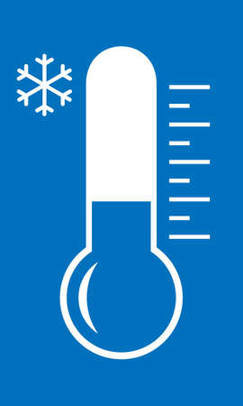Cold weather symbol. Thermometer with low temperature sign isolated on white background. Icon in flat design for website, app or infographics materials. Vector illustration