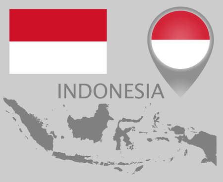 Colorful flag, map pointer and accurate gray blank map of Indonesia. High detail. Vector illustration