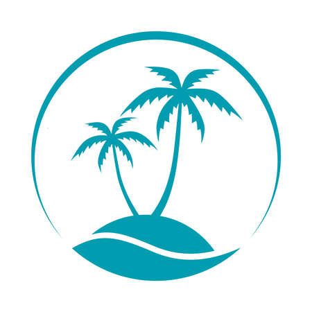 Resort logo with coconut palms and sea. Tropical island graphic stylized icon. Travel symbol isolated on white background. Vector illustration Illustration