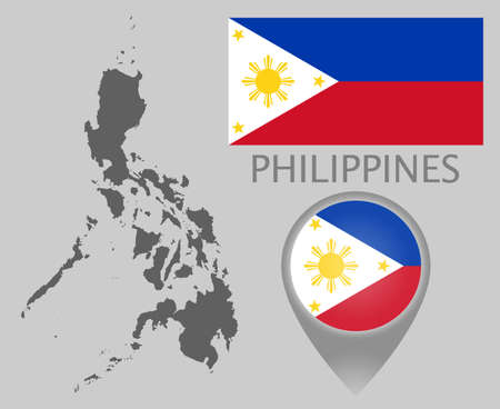 Colorful flag, map pointer and accurate gray blank map of Philippines. High detail. Vector illustration Ilustração