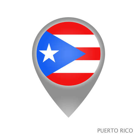 Map pointer with flag of Puerto Rico. Colorful pointer icon for map. Vector Illustration.