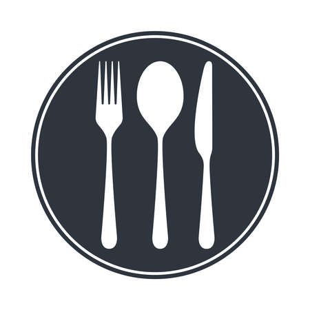 Cutlery icon. Spoon, fork and knife in the circle. Isolated image on white background. Restaurant menu symbol. Vector illustration Ilustrace