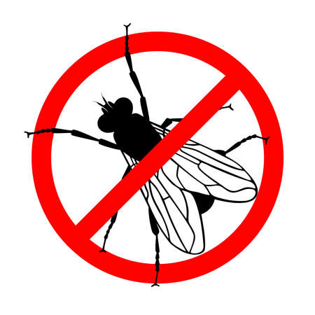 Warning sign stop the fly. Prohibition sign insect pest. Symbol for informational and institutional sanitation and related care, Vector illustration Illustration