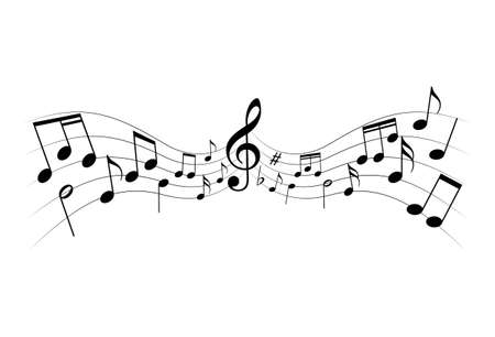 Music notes icon. Sheet music graphic sign isolated on white background. Music melody symbol. Vector illustration Illustration