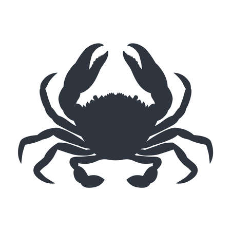 Crab graphic icon. Sea сrab black silhouette isolated on white background. Vector illustration