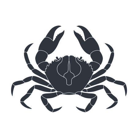 Crab graphic icon. Sea сrab black sign isolated on white background. Vector illustration