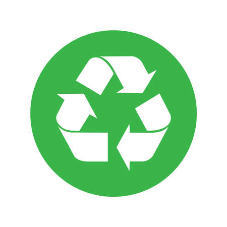 Recycled icon in circle isolated on white background. Symbol recycled element for website, app or infographics. Sign flat design. Vector illustration