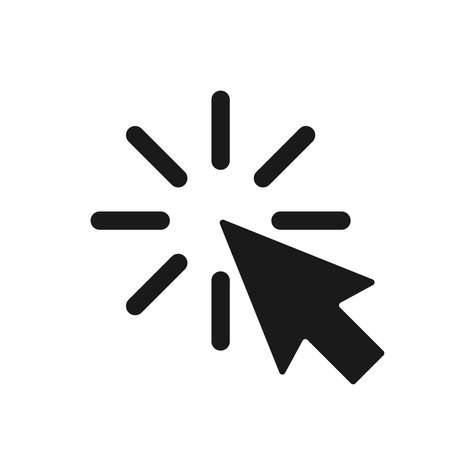 Click icon. Arrow with clicking graphic sign isolated on white background. Cursor symbol for design websites, apps, etc. Vector illustration Illustration