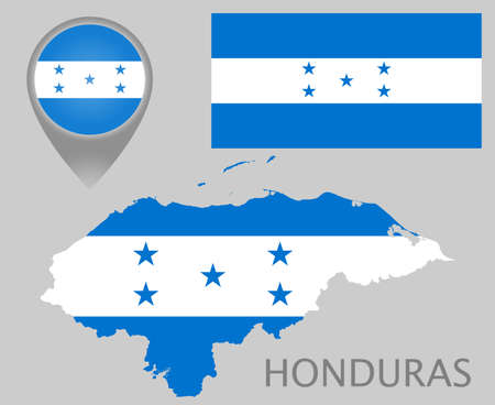 Colorful flag, map pointer and map of the Honduras in the colors of the Honduras flag. High detail. Vector illustration
