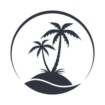 Resort with coconut palms and sea. Tropical island graphic icon. Travel symbol isolated on white background. Vector illustration