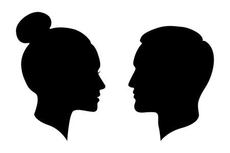 Man and woman silhouettes. Male and female profiles isolated on white background. People symbols. Vector illustration