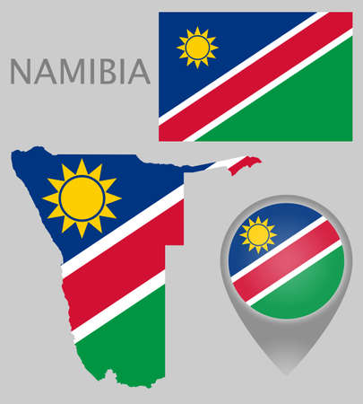 Colorful flag, map pointer and map of Namibia in the colors of the Namibian flag. High detail. Vector illustration