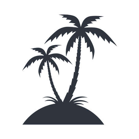 Island with palms trees icon. Tropical island graphic sign. Travel symbol isolated on white background. Vector illustration Illustration