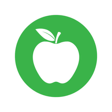 Apple in the circle sign isolated on white background. Symbol apple with leaf. Vector illustration