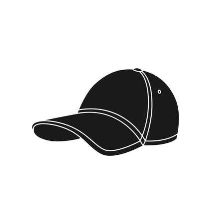 Baseball cap icon. Graphic sign baseball cap. Black symbol baseball cap isolated on white background. Stock vector illustration