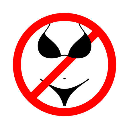 Bikini is prohibited sign.  No bikini symbol isolated on white background. Wearing swimsuit is not allowed image. Vector illustration