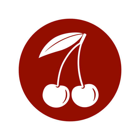 Cherry icon. Cherry in the circle sign isolated on white background. Symbol cherry with leaf. Vector illustration