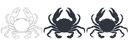 Crabs graphic icons set. Sea crabs contour silhouette and sign isolated on white background. Vector illustration