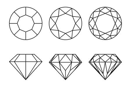 Diamonds graphic signs set. Diamond types of cutting icons isolated on white background. Vector illustration