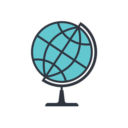 Globe graphic Icon. Layout planet Earth sign isolated on white background. Vector illustration