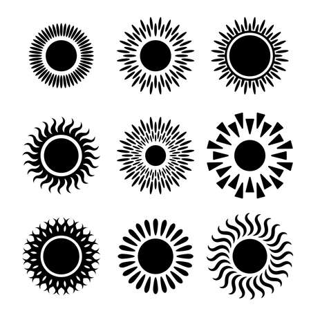 Suns graphic icons set. Suns pictograms isolated on white background. Symbols of summer. Vector illustration  イラスト・ベクター素材