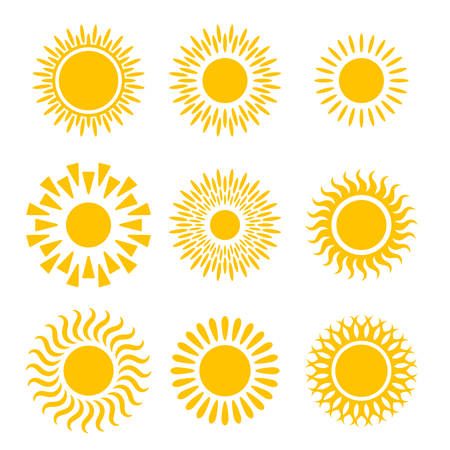 Suns graphic icons set. Suns pictograms isolated on white background. Symbols of summer. Vector illustration Illustration