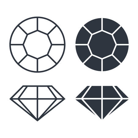 Diamond graphic signs. Diamond icons isolated on white background. Vector illustration