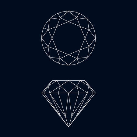 Diamond graphic icons. Diamond symbols isolated on black background. Vector illustration