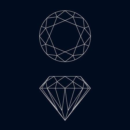 Diamond graphic icons. Diamond symbols isolated on black background. Vector illustration