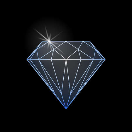 Diamond shine graphic sign. Diamond icon isolated on black background. Vector illustration