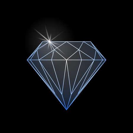 Diamond shine graphic sign. Diamond icon isolated on black background. Vector illustration