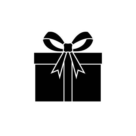 Gift graphic icon. Souvenir with a ribbon sign isolated on white background. Present flat symbol. Vector illustration