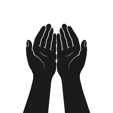 Gesto de las manos juntas en oración. Manos ahuecadas juntas símbolo aislado sobre fondo blanco. Icono gráfico. Ilustración vectorial
