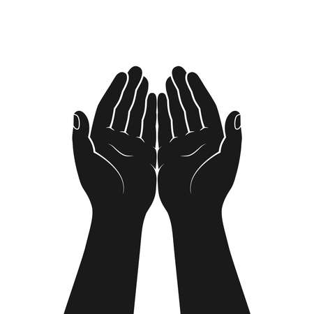 Gesture of the hands folded in prayer. Hands cupped together isolated symbol on white background. Graphic icon. Vector illustration