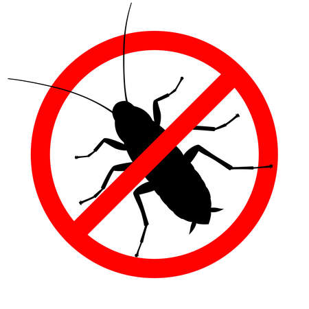 Cockroach in the prohibition sign. Warning sign no cockroach. Symbol for informational and institutional sanitation and related care. Vector illustration