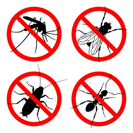 Signs prohibition insects. Set icons no: mosquitoes, flies, cockroaches, ants. Warning symbols isolated on white background. Vector illustration Ilustração