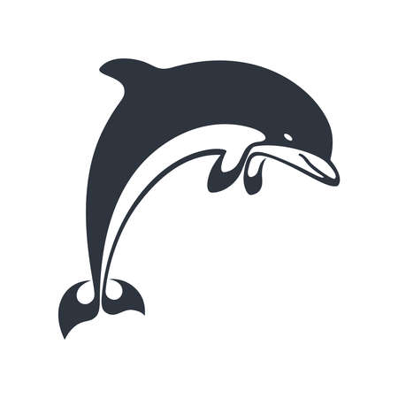 Dolphin jumping icon. Dolphin monochrome symbol isolated on white background. Dolphin graphic sign as sealife symbol. Vector illustration Illustration