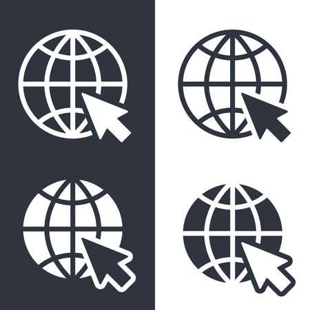 Web icons set. Website pictograms. Internet symbols isolated on white background. Flat style. Vector illustration