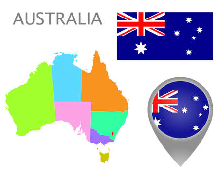 Colorful flag, map pointer and map of Australia with the administrative divisions. High detail. Vector illustration