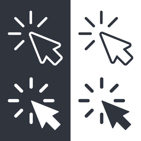 Cursors icons set. Arrows graphic signs isolated on white and black background. Symbols clicks for design websites, apps, etc. Vector illustration Illustration