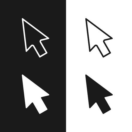 Cursors icons set. Arrows graphic signs isolated on white and black background. Vector illustration Ilustração