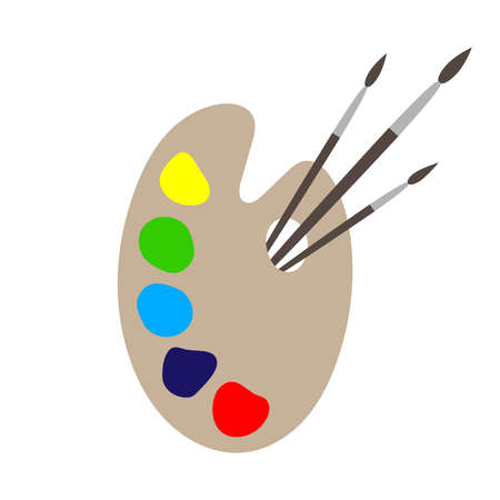 Palette graphic icon. Palette with paints and paint brushes sign isolated on white background. Painting symbol. Vector illustration  イラスト・ベクター素材