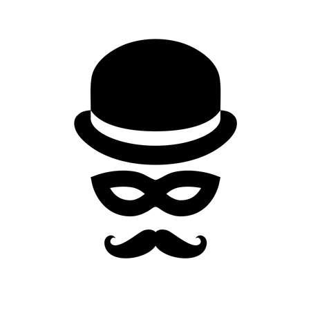 Signe de personne inconnue. Homme anonyme avec des moustaches en chapeau melon et masque noir. Icône graphique isolé sur fond blanc. Illustration vectorielle Vecteurs