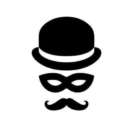 Unknown person sign. Anonymous man with moustaches in bowler hat and black mask. Graphic icon isolated on white background. Vector illustration