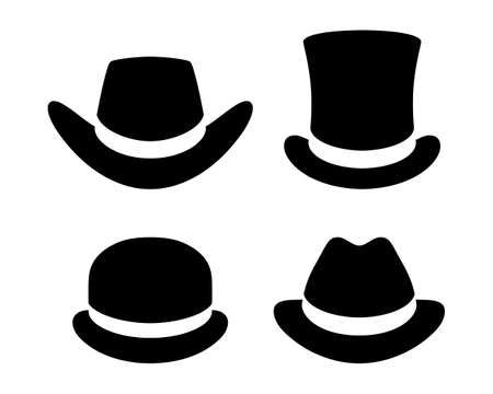 Hats graphic icons set. Cowboy hat, top hat, bowler hat, hat  black signs isolated on white background. Vector illustration
